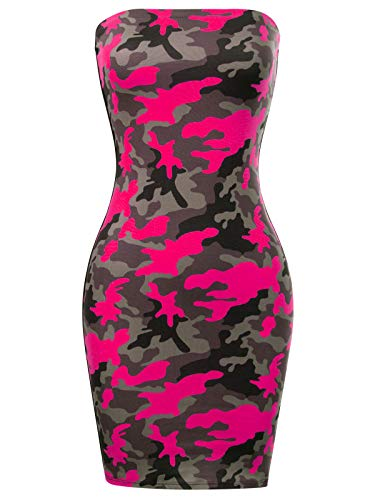 BEYONDFAB Women's Camouflage Strapless Bodycon Tube Dress Pinkcamo S
