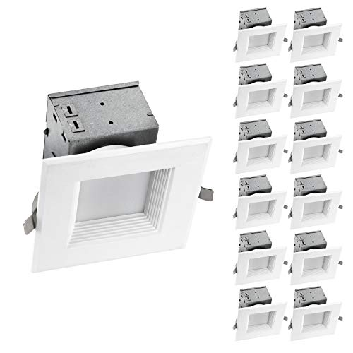 Light 12 Recessed - OSTWIN (12 Pack) 4 Inch Square LED Recessed Ceiling Light Fixture, Dimmable, Downlighter Junction Box, IC Rated, 10W (75 Watt Replacement) 3000K, 700Lm, No Can Needed, ETL and Energy Star Listed