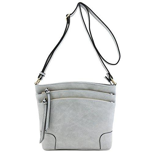 Triple Pocket Zip Bag Grey Light Medium Crossbody SRpqrSw