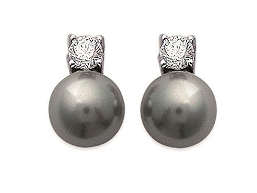 Boucles d'Oreilles de Soirée Clous Puces en Argent 925/000 Rhodié, Oxyde de Zirconium et Perles Grises