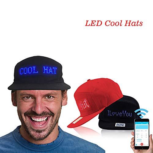 LED Bluetooth Hip hop Beanie Hat for Christmas Halloween Birthday Sports Travel Flashlight Men Women Boy Girl Cowboy Advertising Party Hat Caps (Red) ()