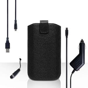Caseflex Acer Liquid E3funda negro cuero bolsa funda con automático Regreso tarjeta de registro con mini lápiz capacitivo, cargador de coche y cable USB