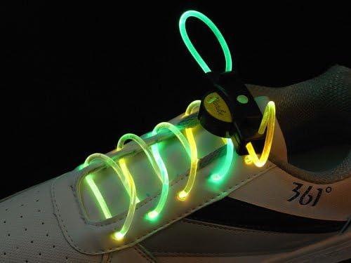 注目浴びる「LEDで光る靴ひも」選べるカラバリ 16色 点灯は 3パターン 夜間のウォーキング、犬の散歩、クラブやフェスに (グリーン&イエロー)