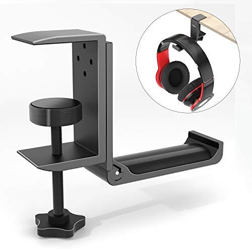 Headphone Headset Hanger, Vogek Headphone Desk Hook Hanger with Adjustable Clamp for Desk, Universal Hook for Overhead Headphones, Gaming Headphones (Apply to Horizontal & Vertical Surfaces) (Black)