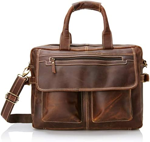Vintage Buffalo Leather Messenger Briefcase