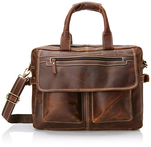 16 inch Vintage Buffalo Leather Messenger Satchel Laptop Briefcase Men's Bag Crazy Vintage Leather Messenger (Brown)