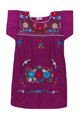 Magenta Peasant Tehuacan Dress Co Dark Clothing Mexican 8421 Poplin Womens Mexican 48xHw1F6q