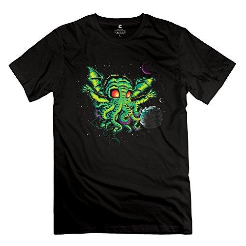 Yisw Man's Octopus T-Shirt M Black 100% Cotton Design Tees Shirt
