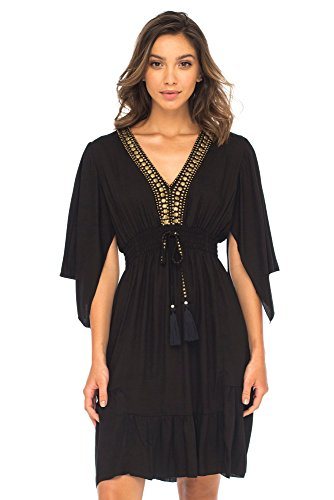 Back From Bali Womens Short Sundress Flowy Boho Beach Dress with Beaded Deep V Neck, Casual Sexy Summer Party Dress Black Large