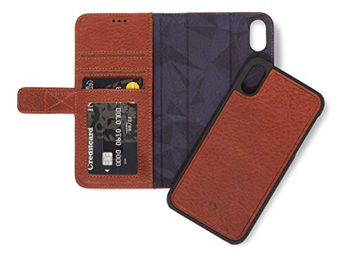 DECODED Premium Full-Grain Leather Detachable Wallet Case for iPhone Xs Max (Brown) ()