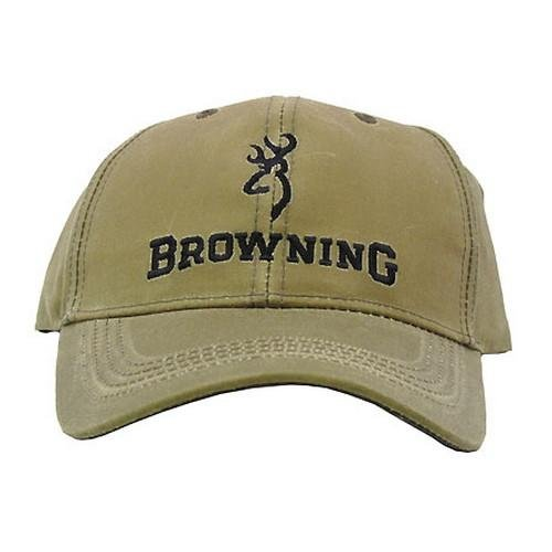 Browning Lite Wax Cap with Logo, Khaki, Semi-Fitted Khaki Logo Cap