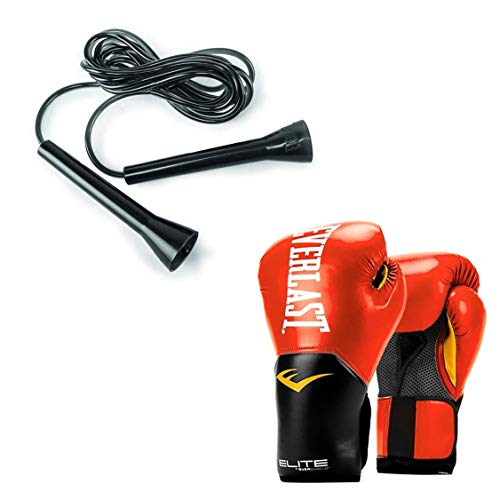 Everlast Elite Pro Boxing Gloves Size 12 Ounces, Red and 11 Foot Speed Jump Rope