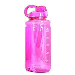 GHP Tritan Outdoor Water Bottle with Carry Handle & Pop Up Straw, Pink, 101 oz/Large