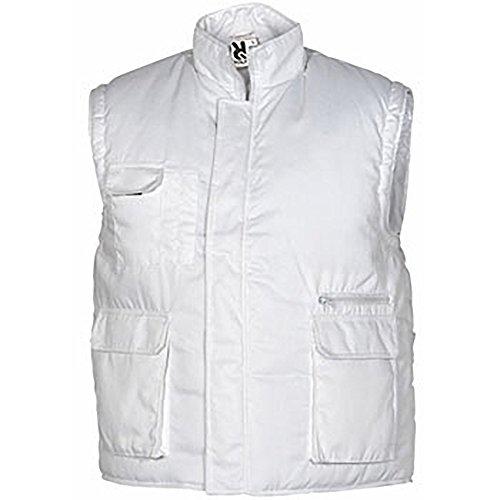 Chaleco laboral multibolsillo con bolsillo interior con velcro. Blanco