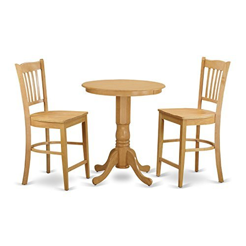 East West Furniture EDGR3-OAK-W 3 Piece High Top Table and 2 Dinette Chairs Set ()