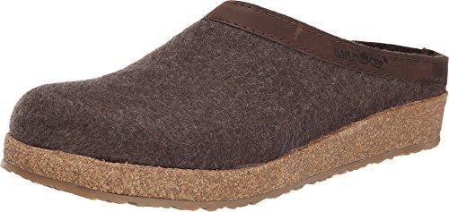 Haflinger Unisex GZL Leather Trim Grizzly Smoke Brown Clog/Mule 44(USM11) Medium