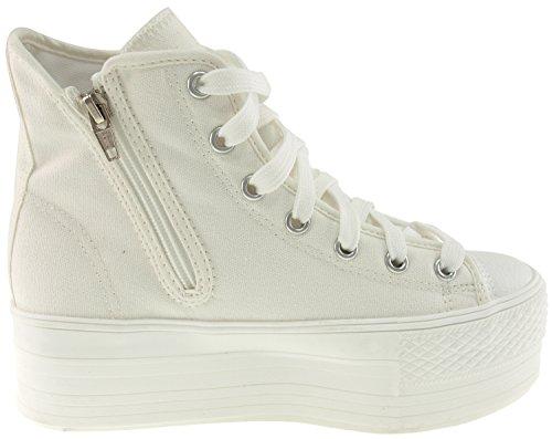 Maxstar C50 7-Fach mit Reißverschluss Fashion Platform High Top Sneakers All-White
