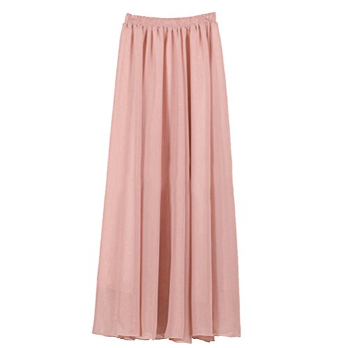 Womens Double Layer Chiffon Pleated Retro Long Skirt Elastic Waist Skirt Pale Rose 2 90cm Pale Rose