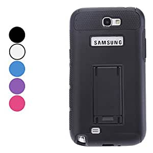 GJY Double-Color Hard Case with Stand for Samsung Galaxy Note 2 N7100 (Assorted Colors) , Black