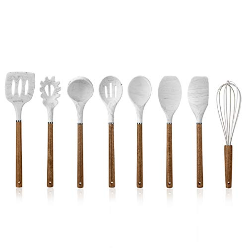 Cook with Color 8 Pc Non Stick Silicone Utensil Set with Rounded Wood Handles for Cooking and Baking – Marble White