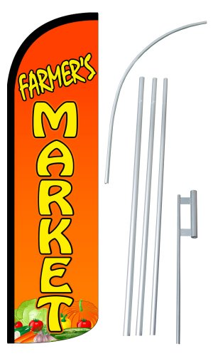neoplex-farmers-market-12-foot-super-swooper-feather-flag-with-heavy-duty-15-foot-pole-and-ground-sp