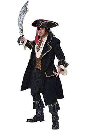 [California Costumes Men's Deluxe Pirate Captain, Multi, Medium] (Couples Scary Costumes)