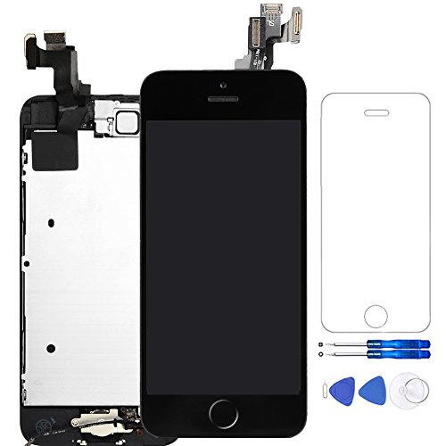 for iPhone 5S LCD Screen Black - Corepair Full Assembly Display Replacement Touch Digitizer with Home Button, Front Camera, Ear Speaker, Repair Tools and Screen Protector