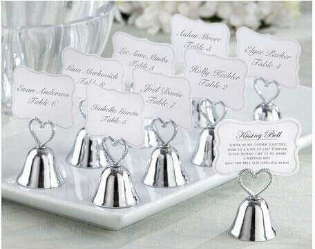 Allegro Huyer Table Number Holder 10pcs/lot Gold/Silver Kissing Bell Place Card Holder/Table Name Number Holder Party Decoration Supplies