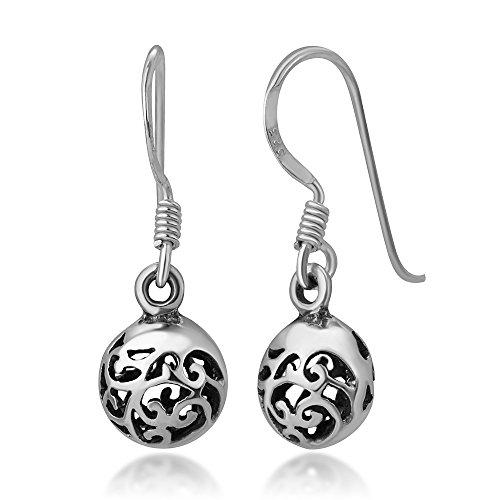 925 Oxidized Sterling Silver Bali Inspired Open Filigree Puffed Round Dangle Hook Earrings 0.7