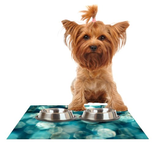 KESS InHouse Ingrid Beddoes Shades of bluee  Feeding Mat for Pet Bowl, 18 by 13-Inch
