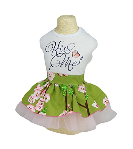 Fashion flower printed doggy lovely princess party dresses costume (XL) (Fancy Dress Xxxl)