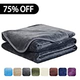 EASELAND Soft King Size Summer Blanket All Season Winter Warm Fuzzy Microplush Lightweight Thermal Fleece Blankets for Couch Bed Sofa,90x108 Inches,Dark Gray