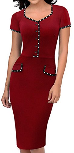 LUNAJANY Women's Vintage Red Square Collar Short Sleeve Fitted Pencil Dress