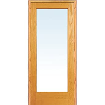 National Door Company Za19933l Unfinished Pine Wood 1 Lite Clear Glass Left Hand Prehung