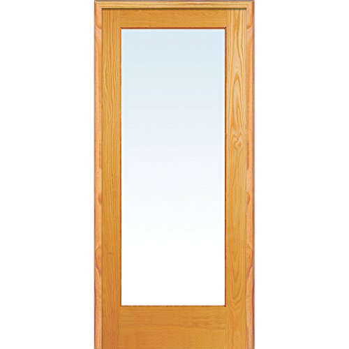y ZA19931L Unfinished Pine Wood 1 Lite Clear Glass, Left Hand Prehung Interior Door, 36