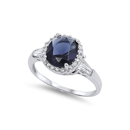 (Blue Apple Co. Halo Engagement Ring Oval Cut Simulated Sapphire Baguette Round Cubic Zirconia 925 Sterling Silver )