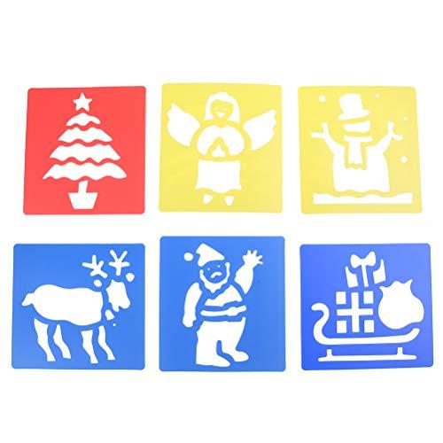 7thLake 6pcs Washable Plastic Christmas Stencils