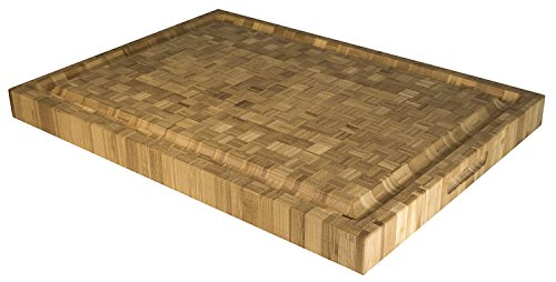 "Totally Bamboo Pro Wooden Cutting, Carving & Serving Block, Natural Wood, 100% Bamboo, Long, 22"" x 16""x 2"" - Carving Natural"
