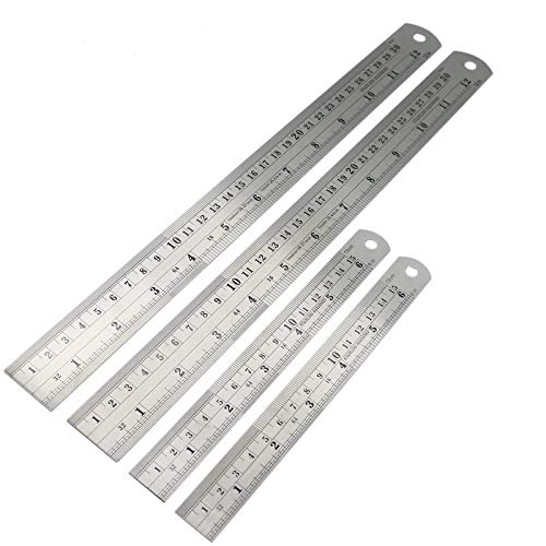 AQUEENLY 4 Piece Stainless Steel Ruler Metric Ruler with Conversion Table, 6 inch Ruler and 12 inch Ruler