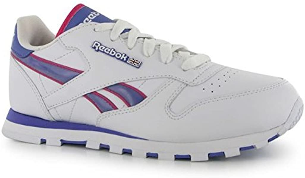 d181f77b482 Reebok Kids Classic Leather Stripe Trainers Junior Girls Sports Shoes  Footwear Wht Purple Pink UK 5.5  Amazon.co.uk  Shoes   Bags
