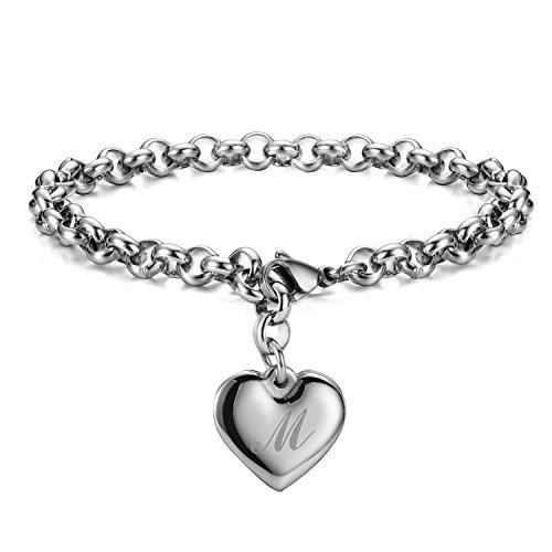 Monily Initial Charm Bracelets Stainless Steel Heart Letters M Alphabet Bracelet for Women