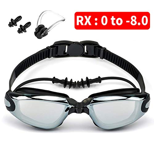 Moikin Swim Goggles, Shortsighted RX Prescription Optical Corrective Myopic Swimming Goggles Leakproof Anti-Fog UV Protection Shortsighted Nearsighted Myopia for Men and Women (-5.5)
