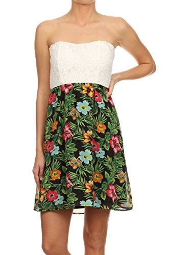 asos strapless floral dress - 1