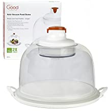 Electronic Smart Food Dome and Cake Plate - Auto-Vacuum Seals With the Push of a Button - and Reseals Whenever Air Comes In