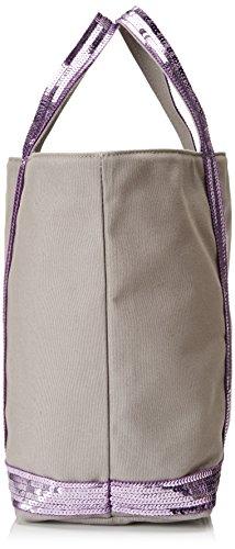 Vanessa Bruno Damen Cabas Medium Coton Et Paillettes Tote, 16x30x43 centimeters Lila (Quartz)