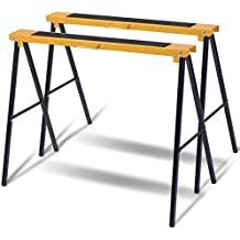 New 2 Pack Heavy Duty Saw Horse Steel Folding Legs Portable Sawhorse Pair Adjustable Jobsite