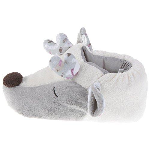 Tierhausschuhe Rentier Tier Hausschuhe Pantoffel Puschen Schlappen Kuscheltier Plüsch Mädchen Weiss 35-41, TH-RE Grau