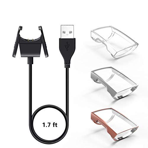 【1+3 Pack】 YiJYi Compatible with Fitbit Charge 3 Charger & Case Screen Protector,1 USB Replacement Charging Cable and 3 Full-Around Protective Cover Shell for Fitbit Charge 3 and Fitbit Charge 3 S