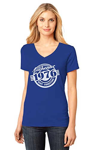 1976 T-shirt (41st Birthday Gift Authentic 1976 Mint Condition Funny V-Neck Women T-Shirt Medium Blue)