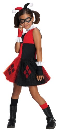 DC Super Villain Collection Harley Quinn Girl's Costume with Tutu Dress, (Girl Jester Costumes)
